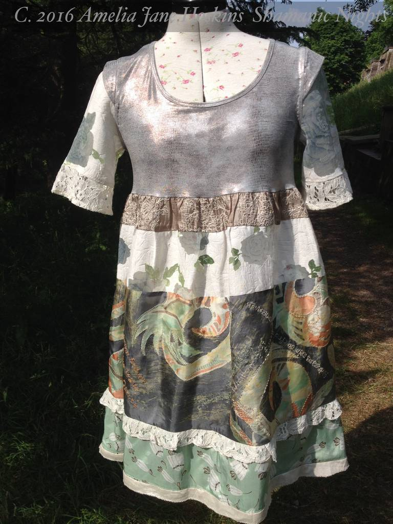 Dress front silk painted panel