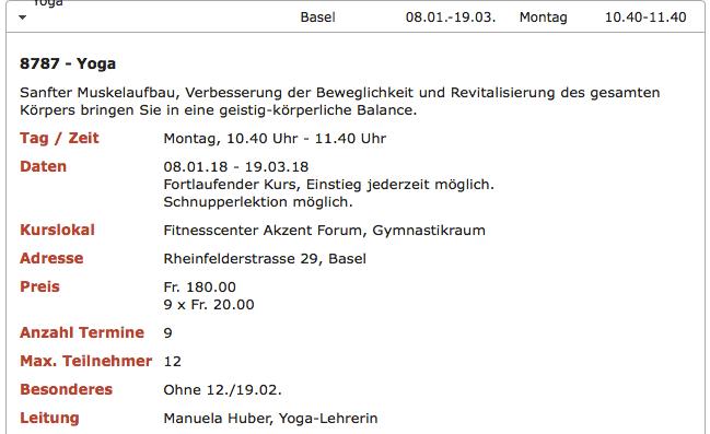 Yoga Kurse in Basel auch im Jahr 2019