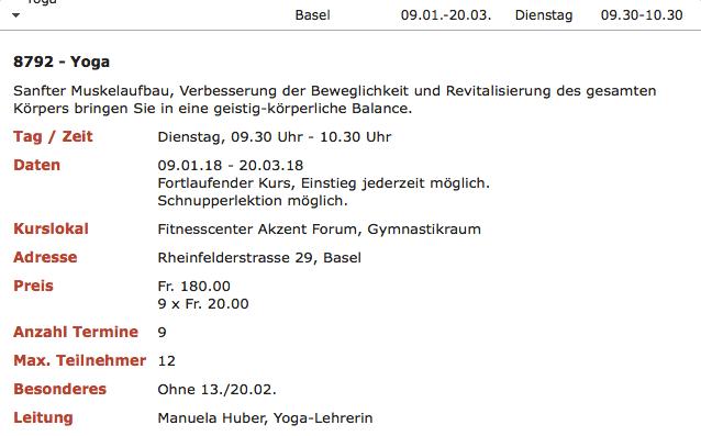 Yoga Kurse an der Rheinfelderstrasse Basel auch im Jahr 2019