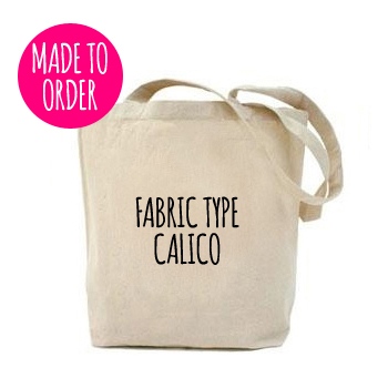 Plain Tote Bag With Fabric Strap x Calico x Size M *made to order*