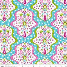 C3941-BLUE - (Riley Blake) Floriography, Floriography Damask in Blue
