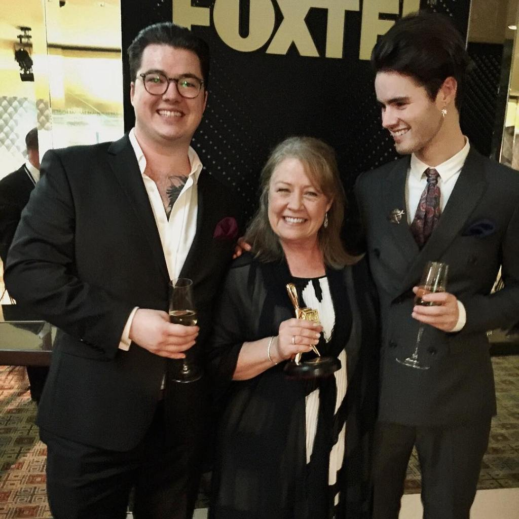 Noni Hazlehurst (Age 62) & sons.