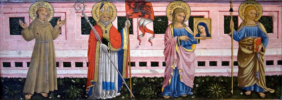 Bartolomeo Caporali, Ss. Francis of Assisi, Herculan, Luke, and James the Greater (15th c.)