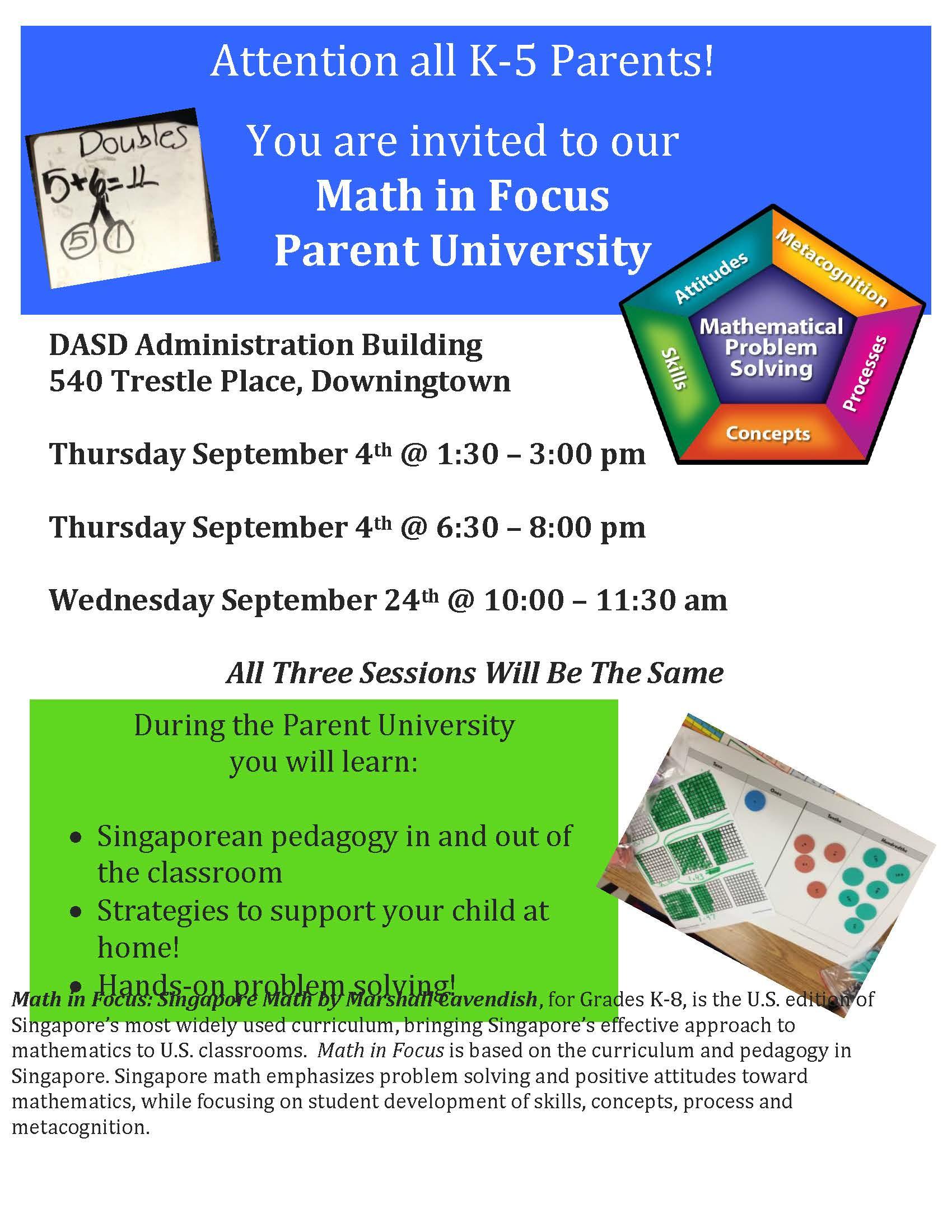 Save The Date Dasd Parent University Math In Focus