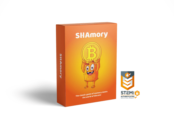 SHAmory Bitcoin card game package with STEM certificaiton