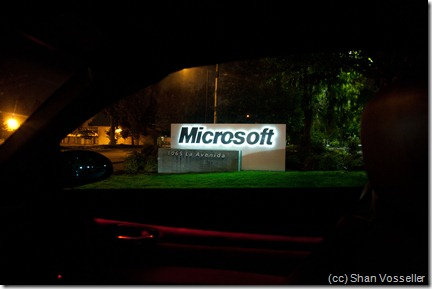 View of the Microsoft sign from my car window as I leave the parking lot
