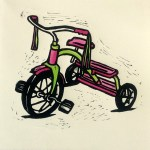 Hand Coloured Linocut Bright Trike by Shana James 26cm x 26cm $210 unframed