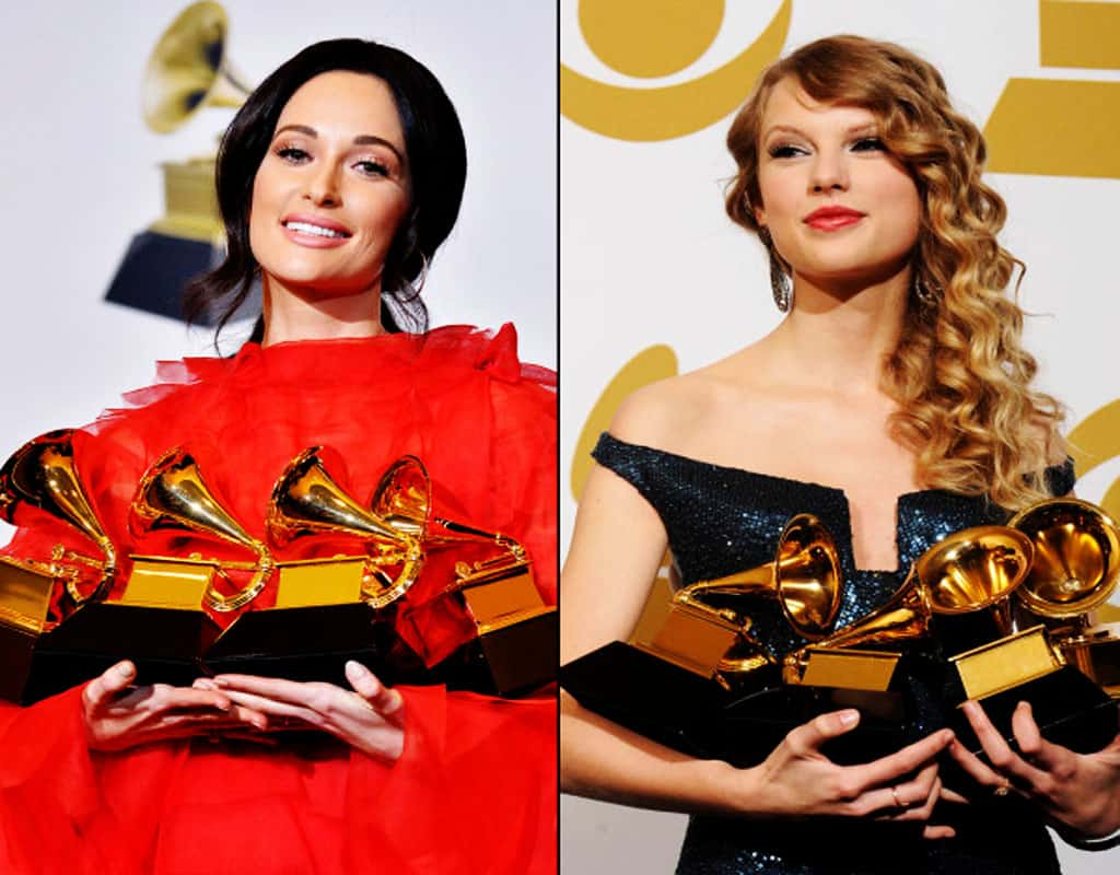 Kacey Musgraves with her Grammy awards in 2019 and Taylor Swift with hers in 2010