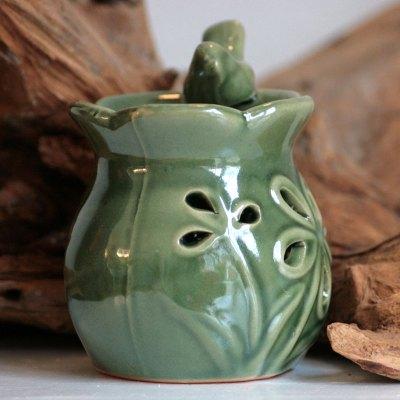Duftlampe blomsterfuglebad mørkegrøn