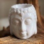Aromalampe Buddha figur hvid