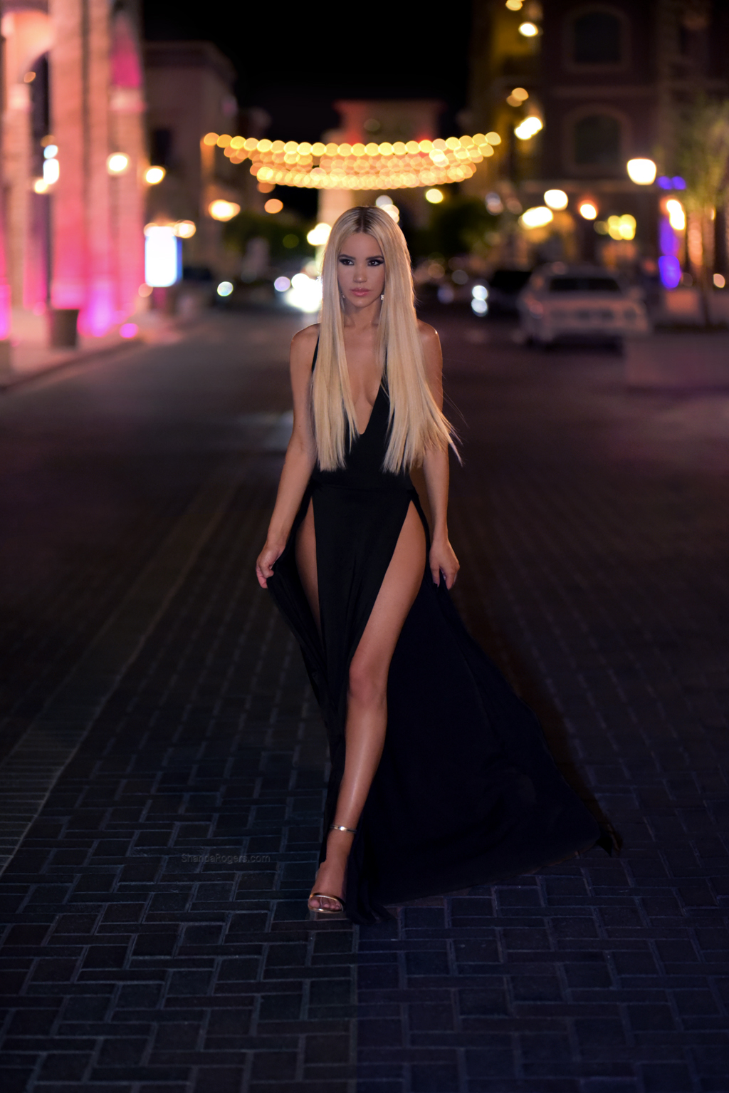 The Double Trouble black Evening Gown