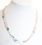 3 strand Swavorski Crystal Studded Silver Necklace