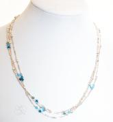 3 strand Swavorski Crystal Studded Silver Necklace