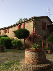 12th c. farmhouse is now the reception and breakfast area for the complex.