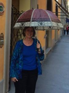 """Cathe poses with her best find -- """"Il Duomo"""" as an umbrella."""