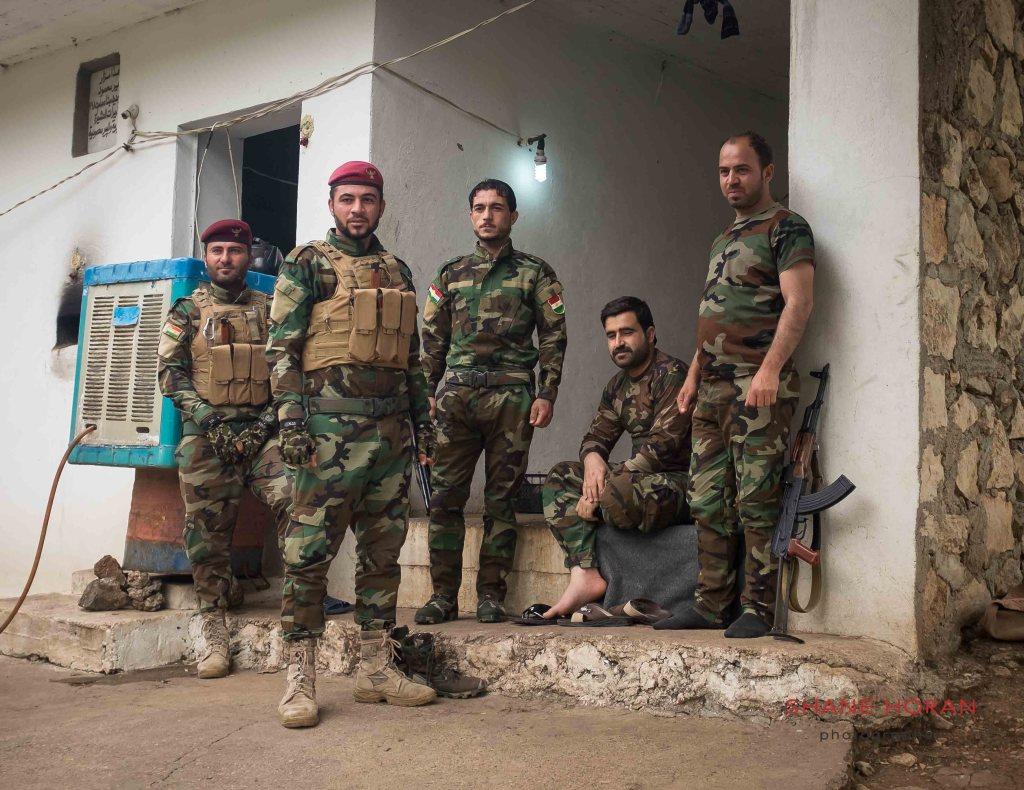 Kurdish peshmerga troops in the Yazidi village of Lalish. April 2017.