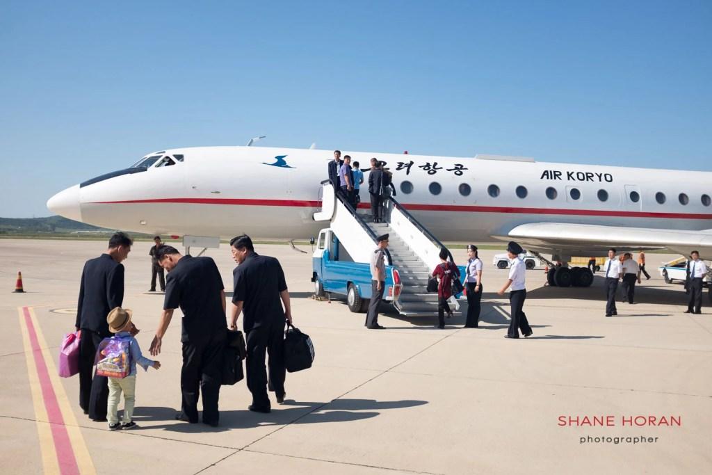 Air Koryo Tupolev TU- 154 on the tarmac at Pyongyang - Sunan international airport. Boarding for Orang in the North East.