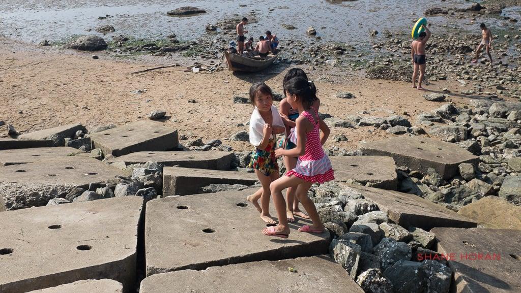 North Korean kids at Nampo Strand, North Korea.