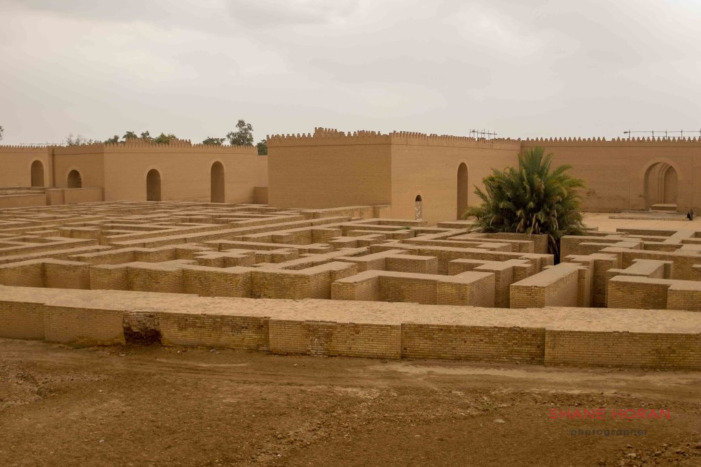re-created structures at Babylon, Iraq