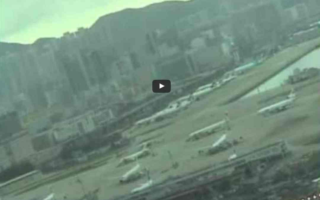 Cockpit view of Boeing 747 Landing at Kai Tak, Hong Kong