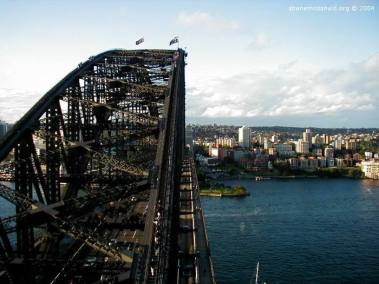 On top of the Bridge, Sydney, Australia Taken from the South Bridge Pylon of the Sydney Harbour Bridge, you get a sence for how high and how big this structure is.