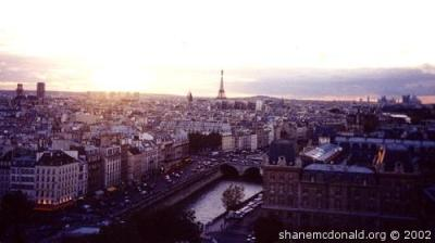 View from Notre Dame at Sunset, Paris, France This is the view from Notre Dame cathedral at sunset.