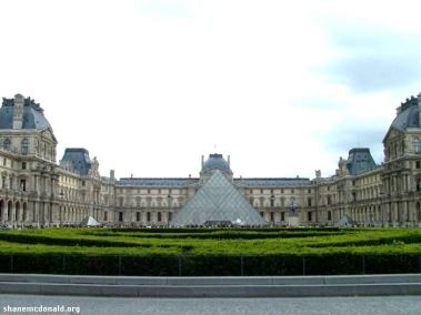 The Louvre Pyramid, Paris, France This is the new main entrance to the Louvre museum as designed by I.M Pei and opened in 1989. The large glass pyramid is very distinctive and for those who read the Da Vinci Code, the inverted pyramid can be found inside - where the 'You Know What' is buried !