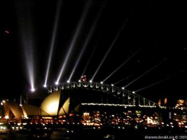 Shows Over, Sydney, Australia After the fireworks the bridge was lit up with the word 'Peace' and a dove lit up in the center section of the bridge. What a great night.