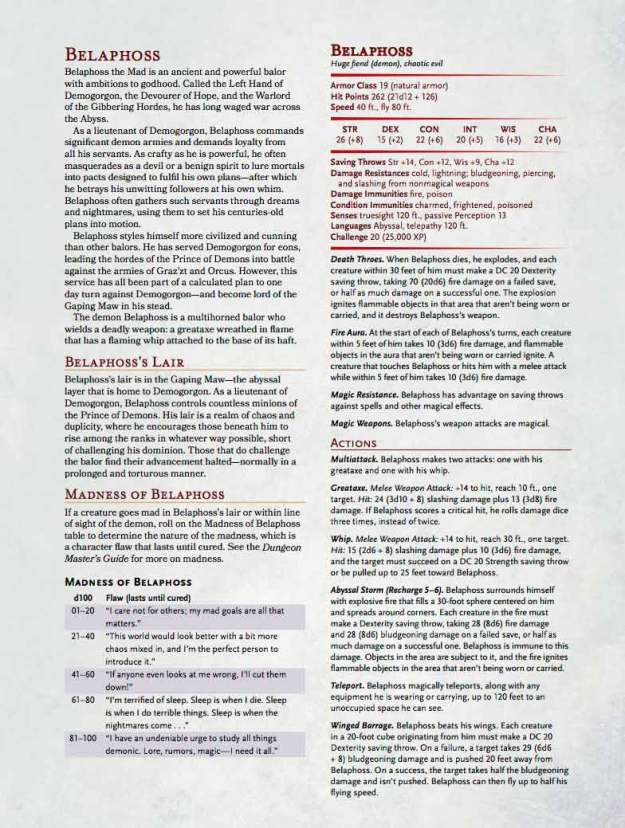 D&D Belaphoss the Mad monster stats