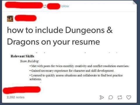 d&d meme resume