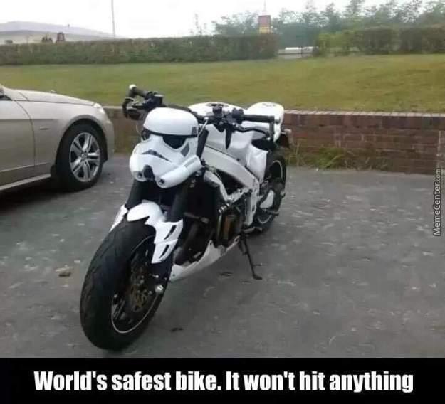 geek meme stormtrooper worlds safest bike