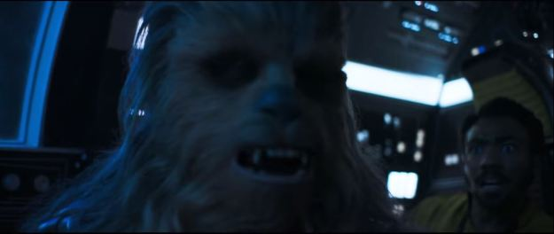star wars solo trailer millennium falcon chewbacca and lando 2