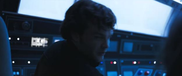 star wars solo trailer millennium falcon cockpit han front left side