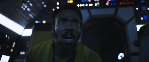 star wars solo trailer millennium falcon cockpit lando rear shot