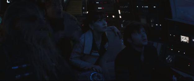 star wars solo trailer millennium falcon cockpit wider shot towards rear