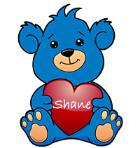 """graphic of blue teddy bear holding red heart """"Shane"""""""