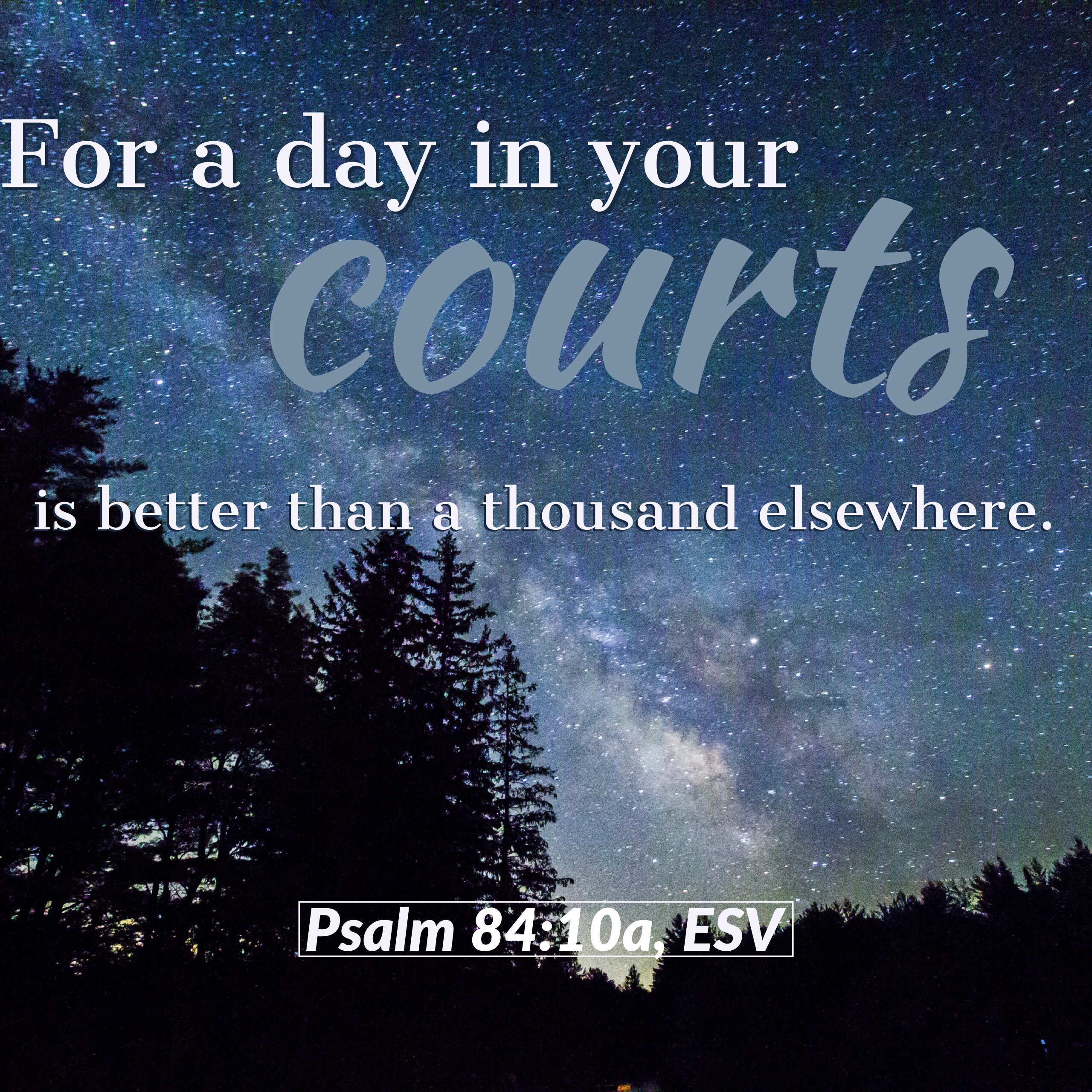 """""""For a day in your courts is better than a thousand elsewhere. I would rather be a doorkeeper in the house of my God than dwell in the tents of wickedness,"""" (Psalm 84:10, ESV)."""