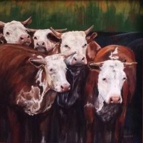 Texas cows pastel art