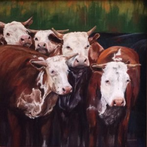 Texas cows pastel art