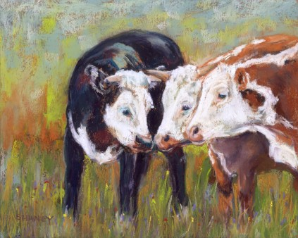 cow pastel painting