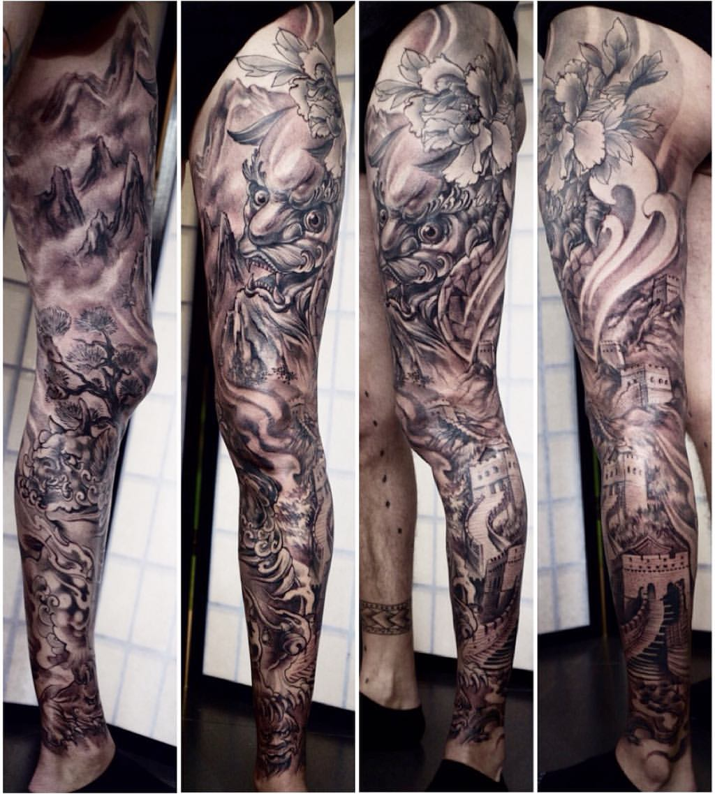shanghai tattoo zhuo dan tings tattoo workfull leg sleeve