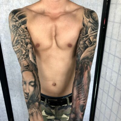 zhuo dan ting tattoo work 卓丹婷纹身作品 双花臂纹身 1