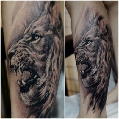 zhuo dan ting tattoo work 卓丹婷纹身作品 狮子头纹身, 1