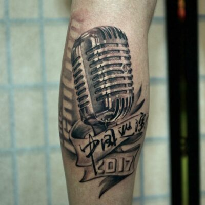 zhuo dan ting tattoo work 卓丹婷纹身作品 麦克风纹身 1