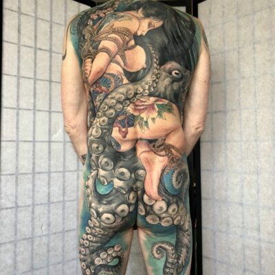 zhuo dan ting tattoo work 卓丹婷纹身作品 full back geisha 1