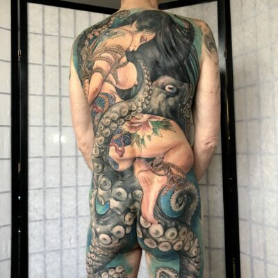 zhuo dan ting tattoo work 卓丹婷纹身作品 full back geisha tattoo 2