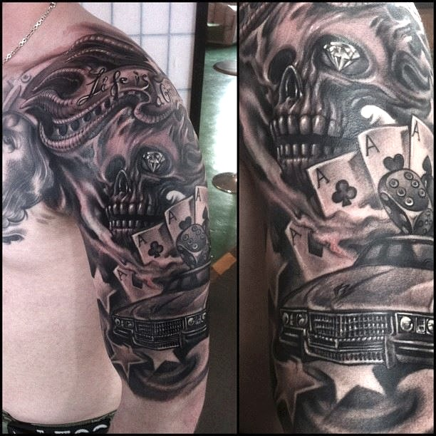 zhuo dan ting tattoo work car skull tattoo卓丹婷纹身