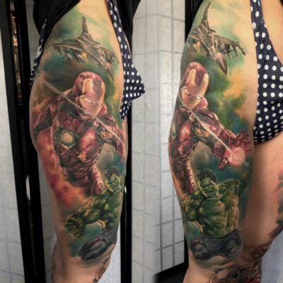 zhuo dan ting tattoo work ironman and hulk 卓丹婷纹身作品 钢铁侠绿巨人纹身 1