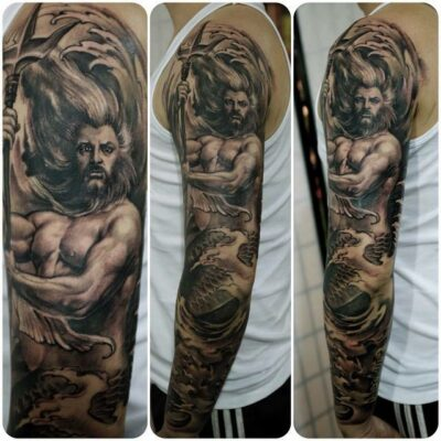 zhuo dan ting tattoo work poseidon sleeve tattoo卓丹婷花臂海神纹身 1