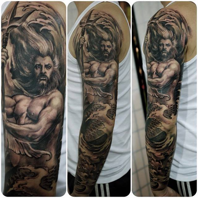 zhuo dan ting tattoo work poseidon sleeve tattoo卓丹婷花臂海神纹身
